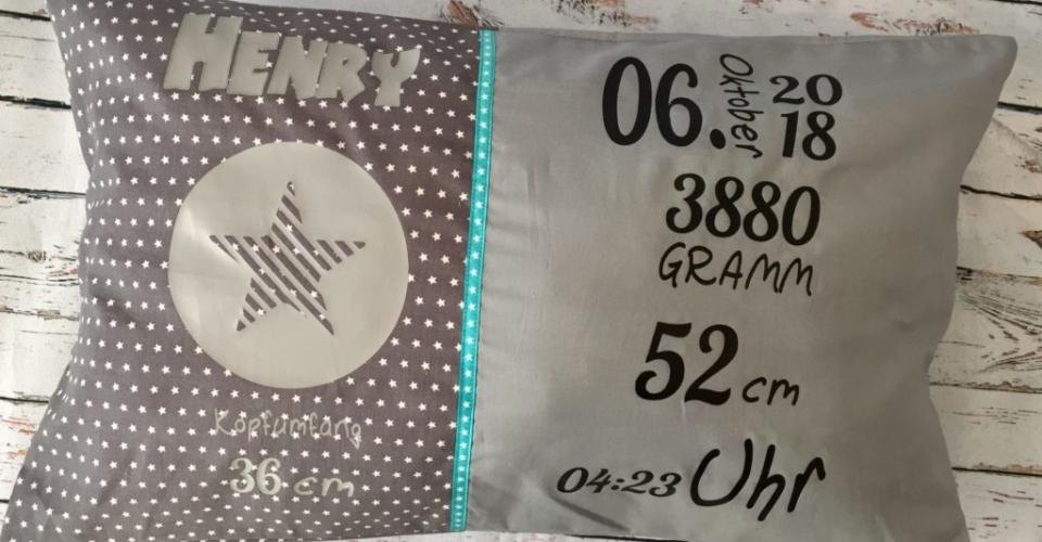 grau+Sonderwunsch- Geburtskissen mit Gewicht