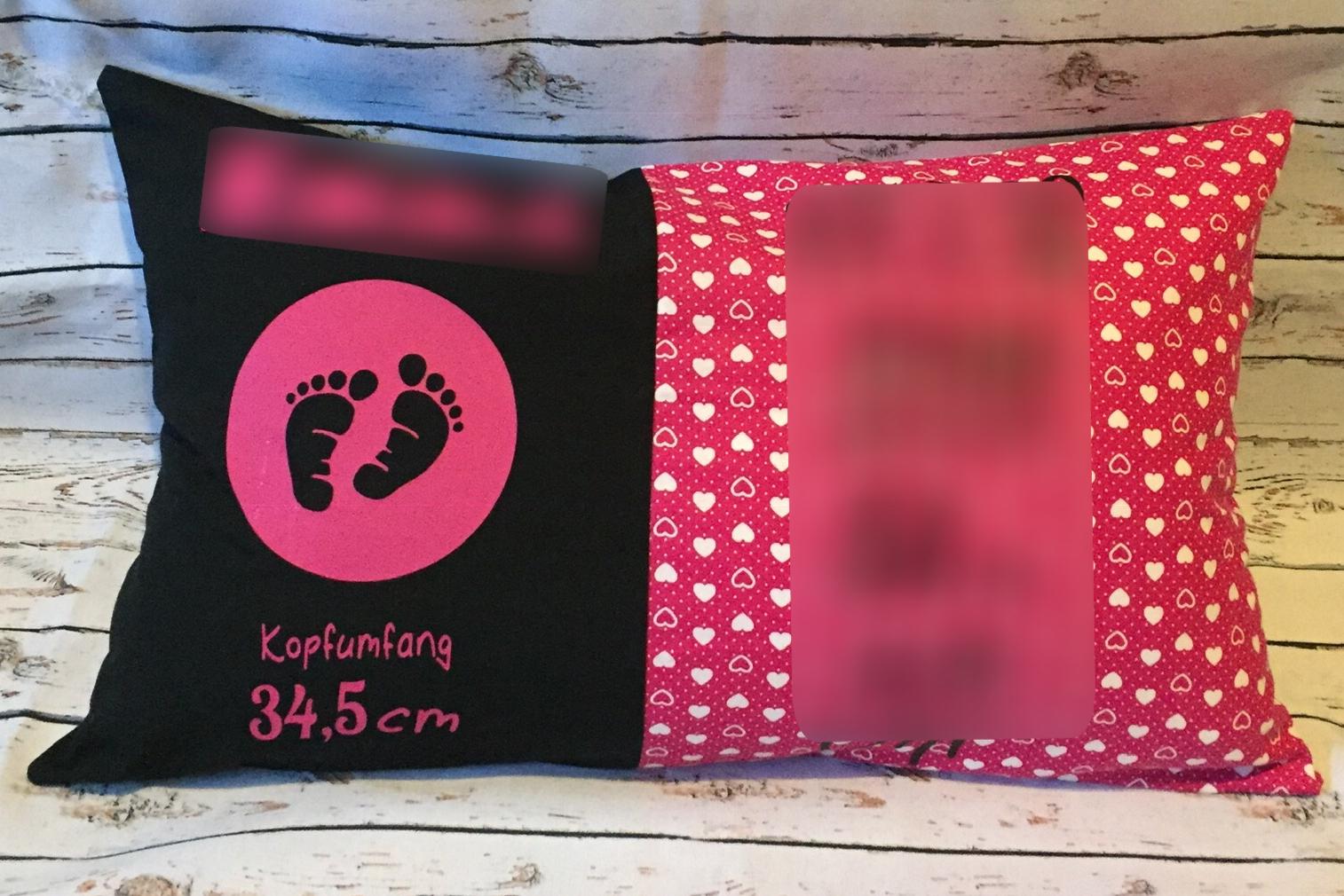 rosa + Sonderwunsch - Geburtskissen mit Gewicht