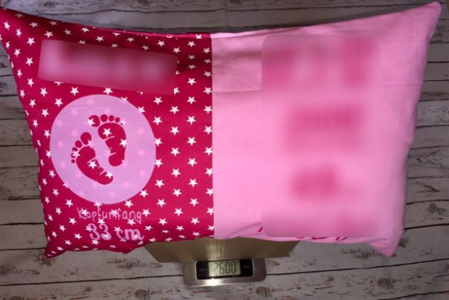 rosa - Geburtskissen mit Gewicht